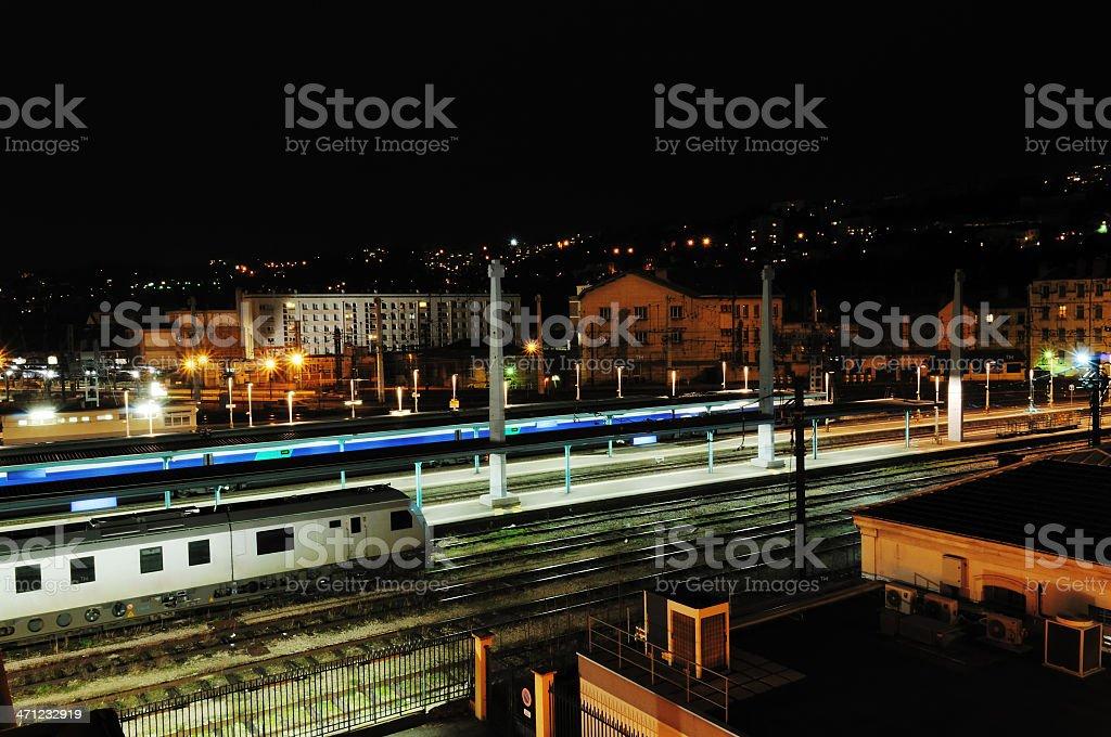 station at night stock photo