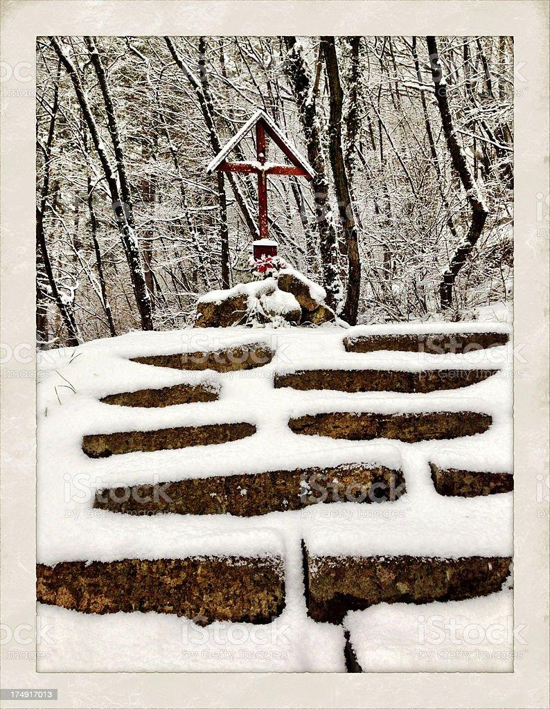 Station of the Cross in Snow Sveta Gora Slovenia royalty-free stock photo