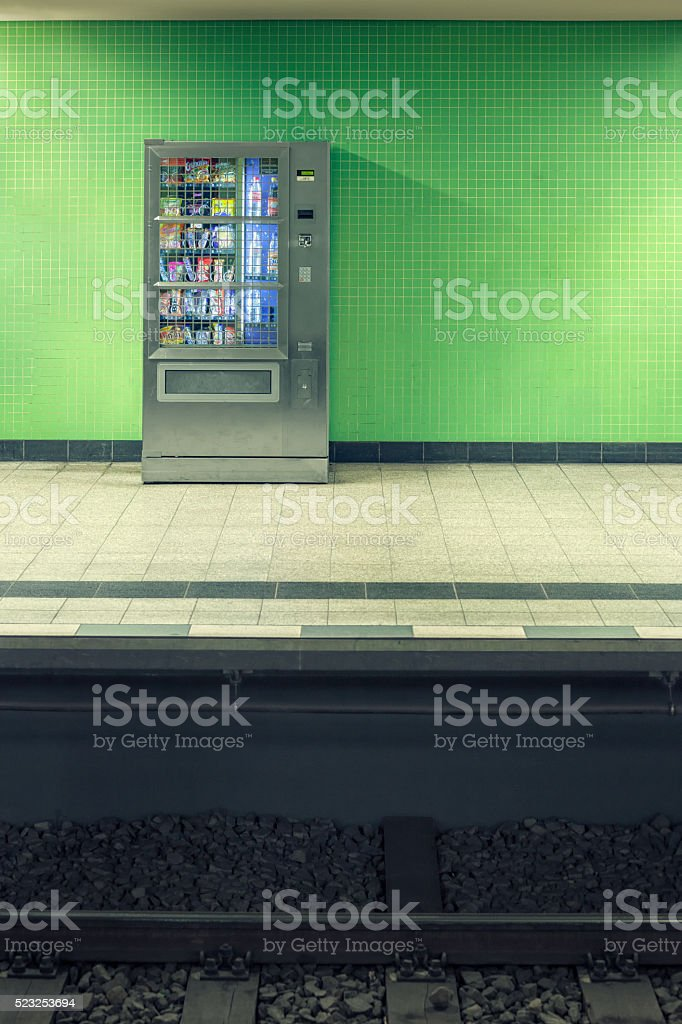 Station platform vending machine stock photo