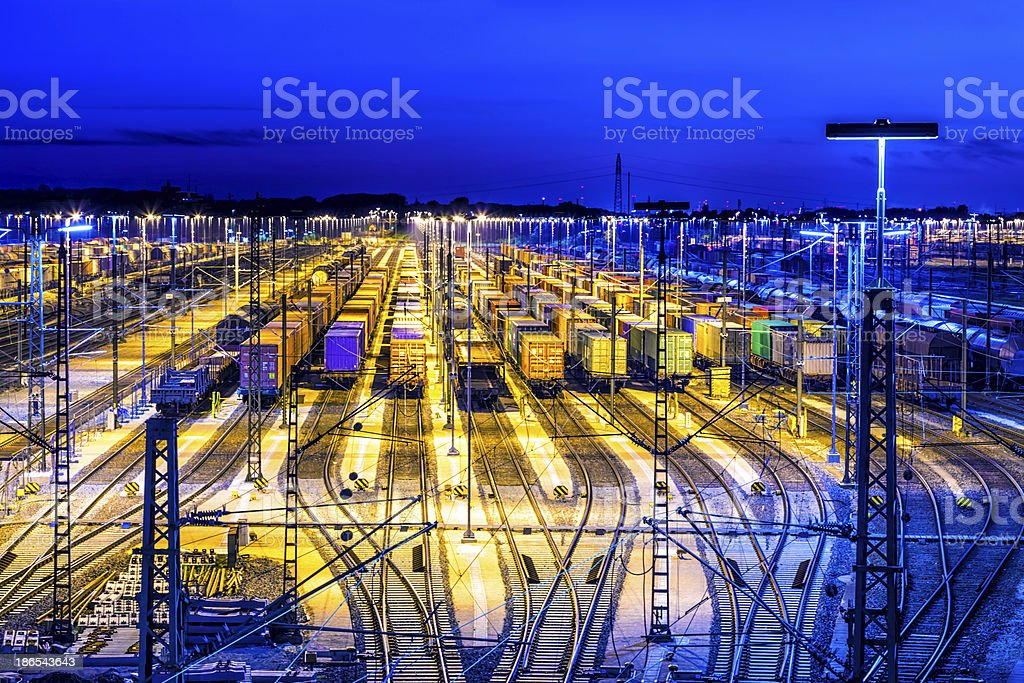 Station with sunset stock photo