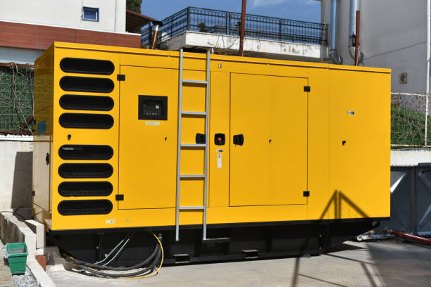 stationary diesel electric generator stock photo