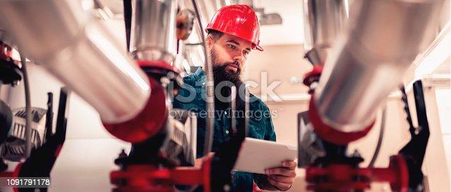 Stationary engineer at work