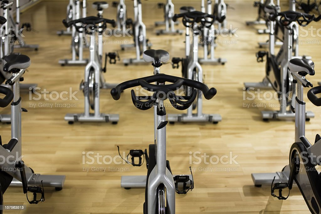 Stationary Spinning Bicycles stock photo