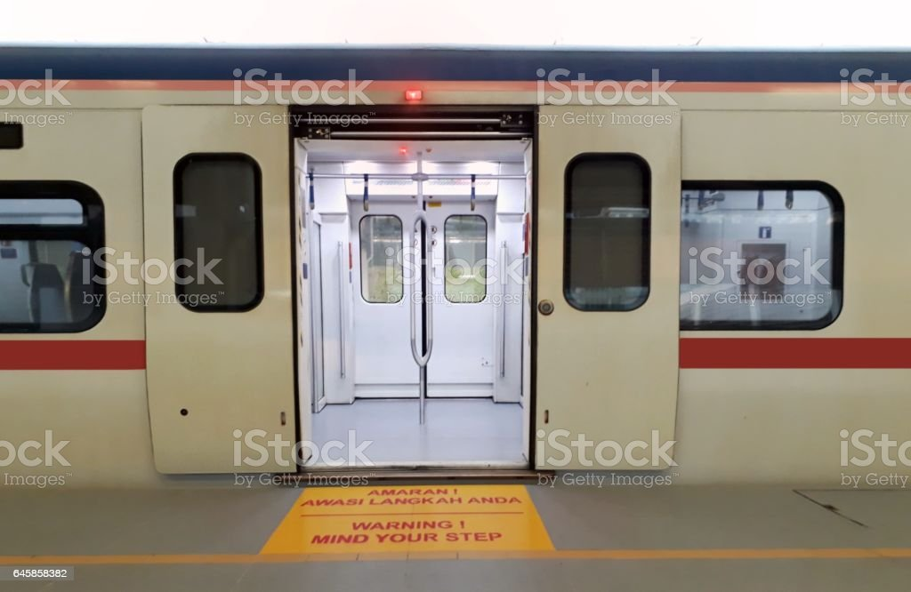 Stationary train at station stock photo
