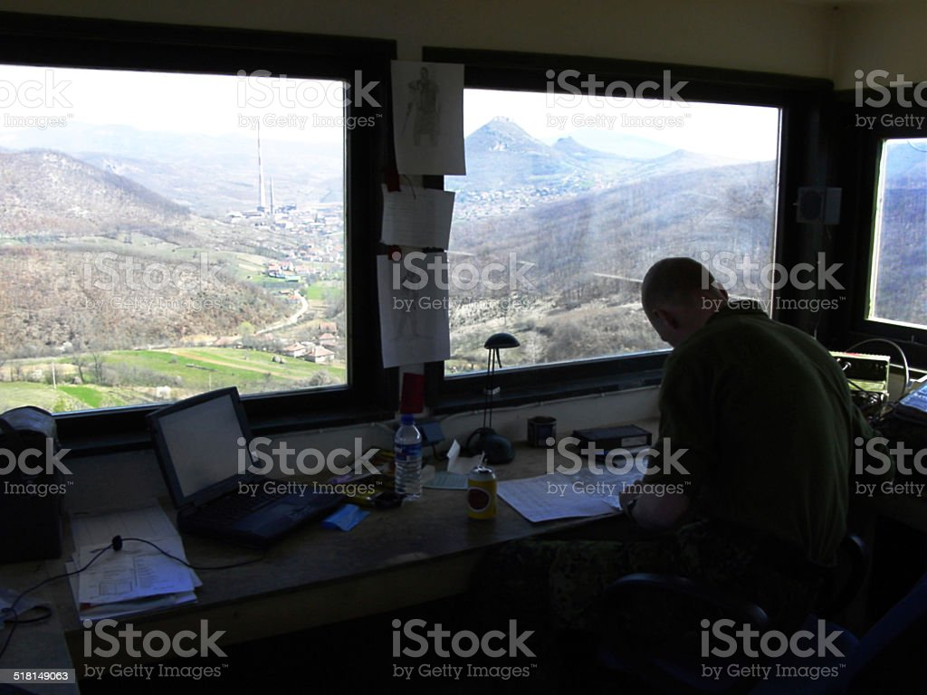 Stationed in the Radio Tower: A Lonely Assignment stock photo