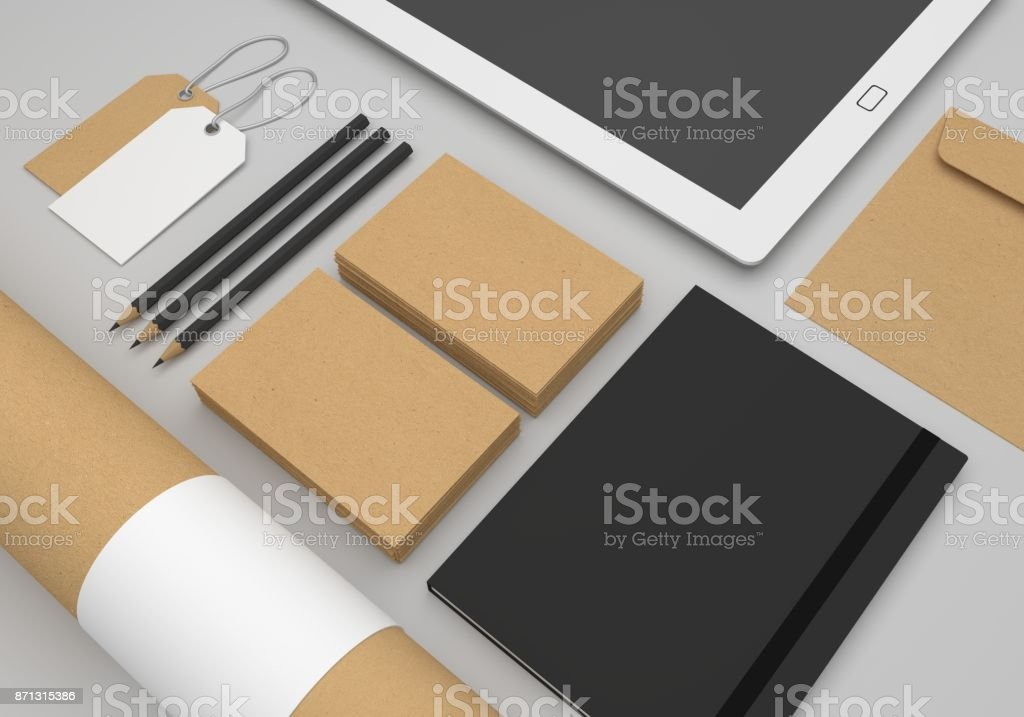 Stationery 3d Illustration Mockup With Recycled Paper Business Cards ...