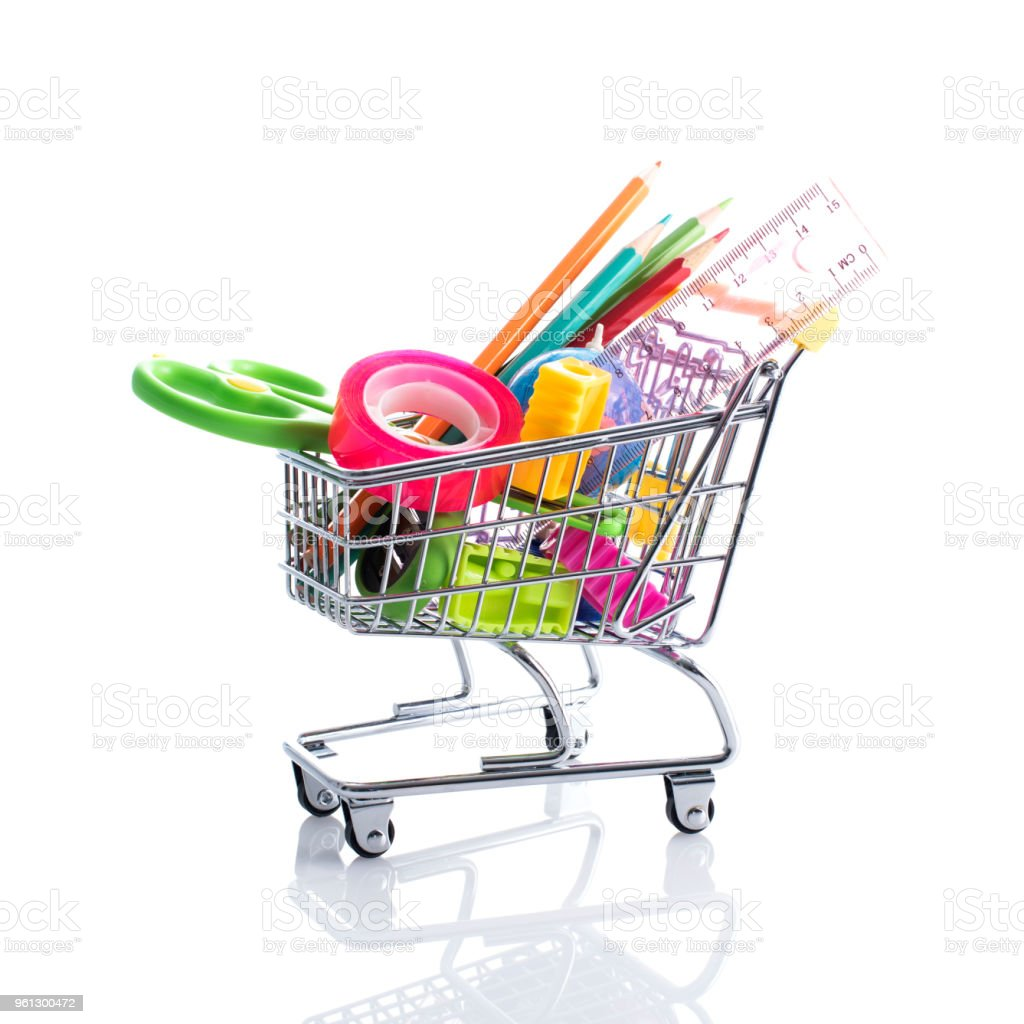 Stationery accessories in a shopping cart stock photo