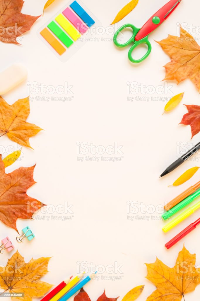 stationery and autumn leaves on the white background stock photo