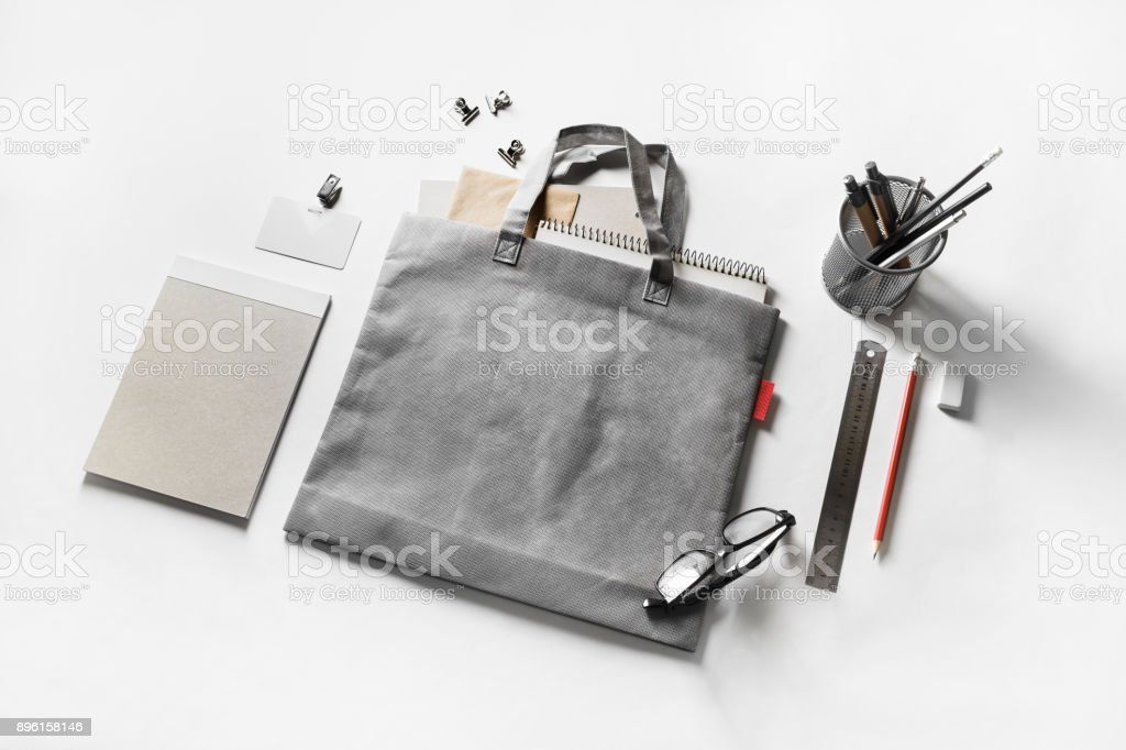 Stationery and bag stock photo
