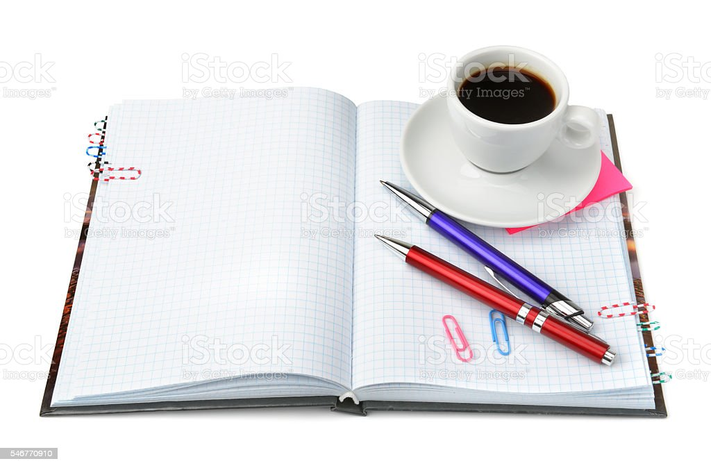 stationery and cup of coffee stock photo