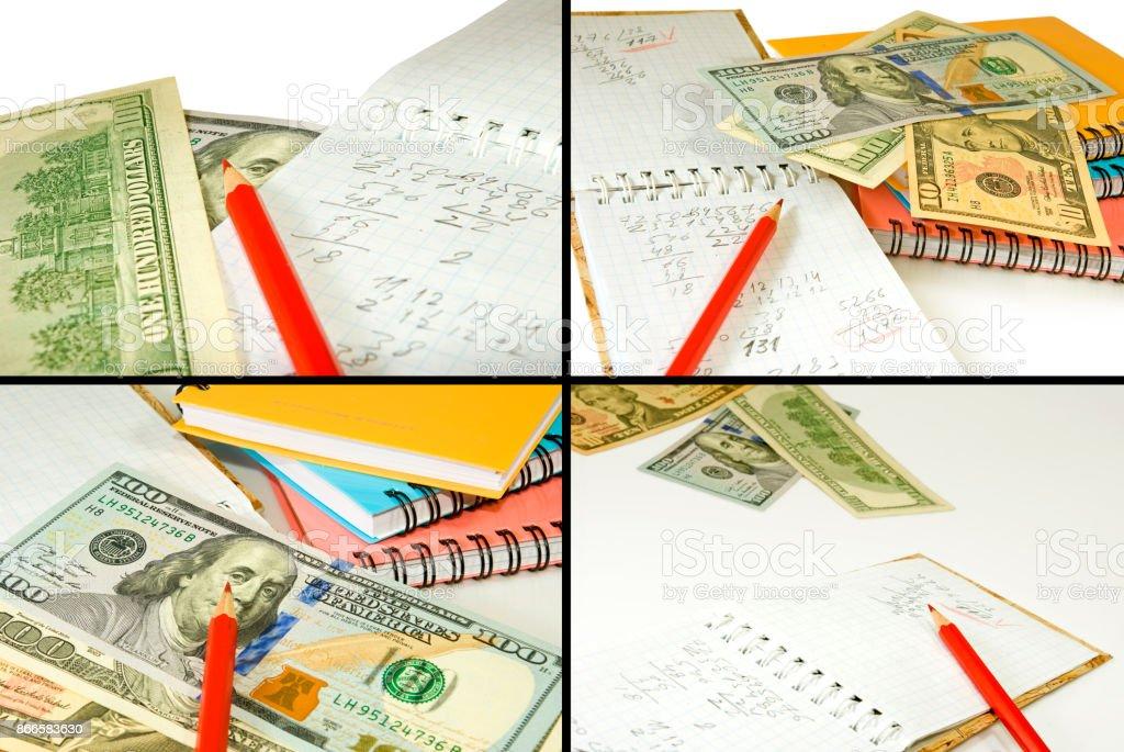 Stationery and money closeup stock photo
