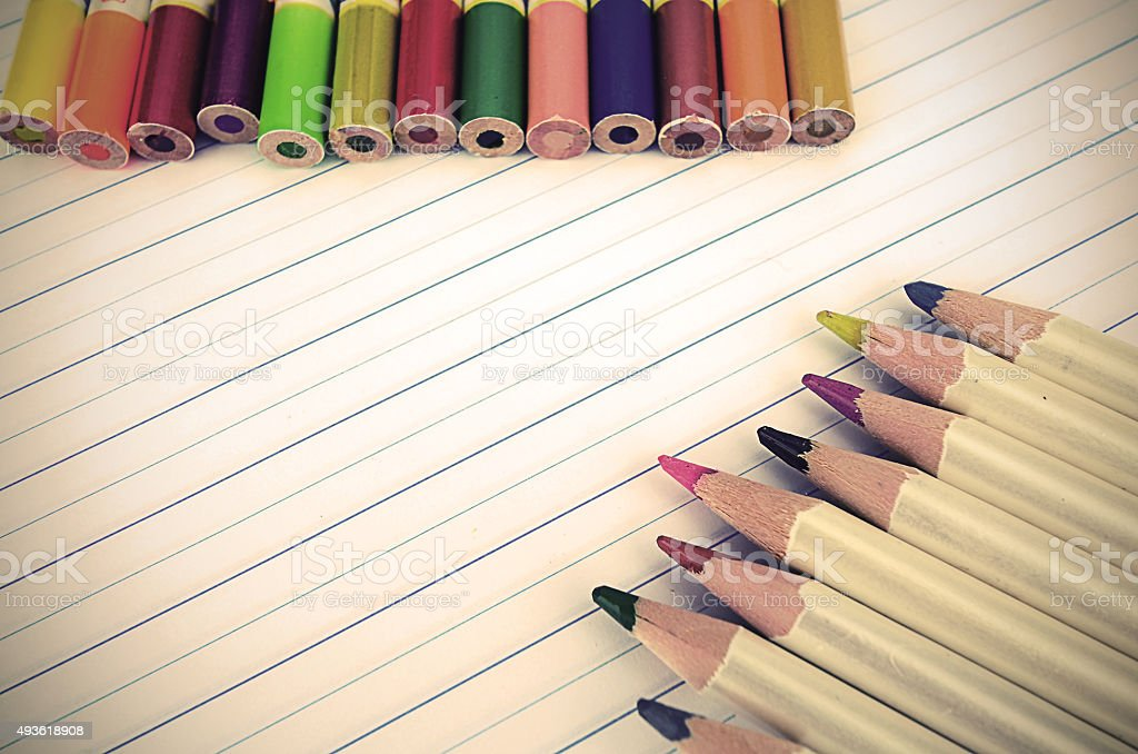 Stationery and Notebook paper with lines. stock photo