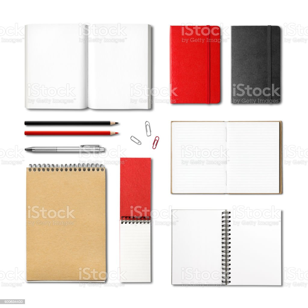 stationery books and notebooks mockup template royalty-free stock photo