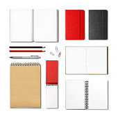 stationery books and notebooks mockup template isolated on white background