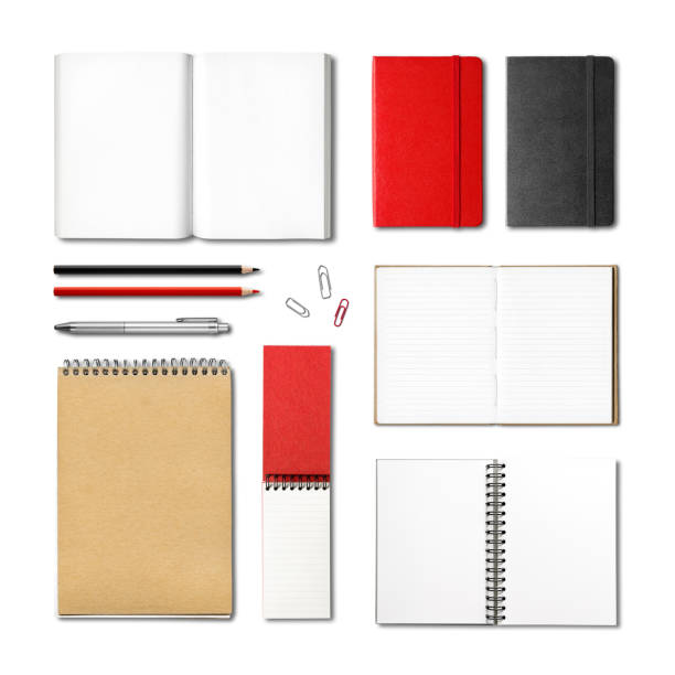 stationery books and notebooks mockup template stationery books and notebooks mockup template isolated on white background note pad stock pictures, royalty-free photos & images