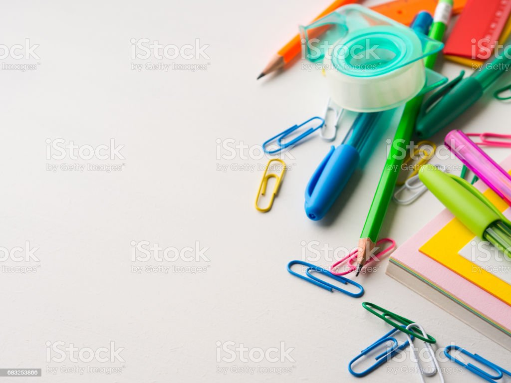 Stationery colorful school writing tools accessories pens 免版稅 stock photo