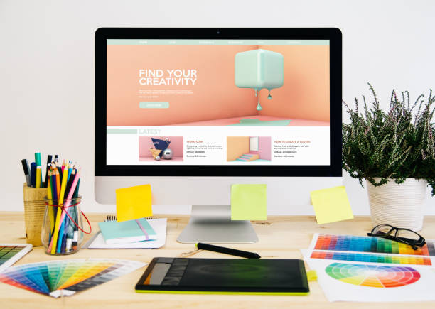 stationery desktop design tutorials website - logo design stock photos and pictures