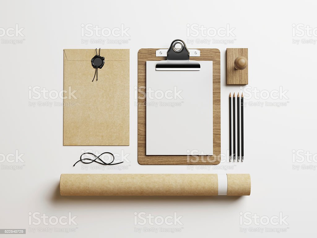 Stationery elements on white paper background stock photo