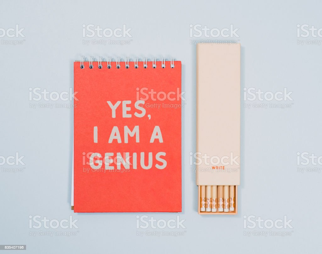 Stationery from above with notebook pencils stock photo