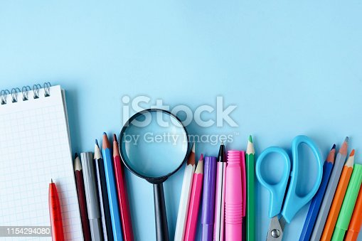 istock Stationery office school college accessories supplies. Back to school. place for text 1154294080