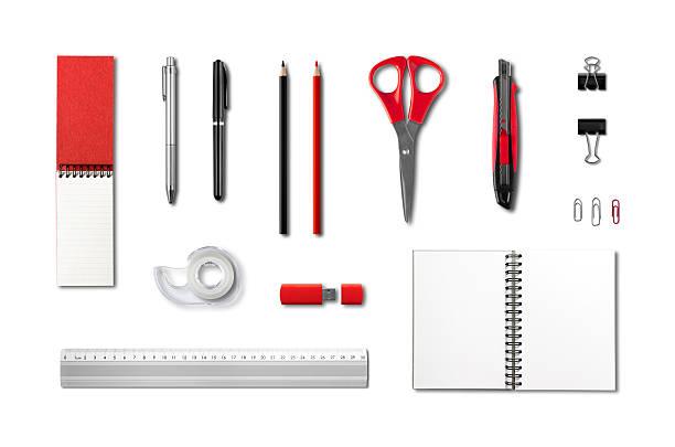 briefpapier, büromaterialien mockup-vorlage, weißer hintergrund - filzunterlage stock-fotos und bilder