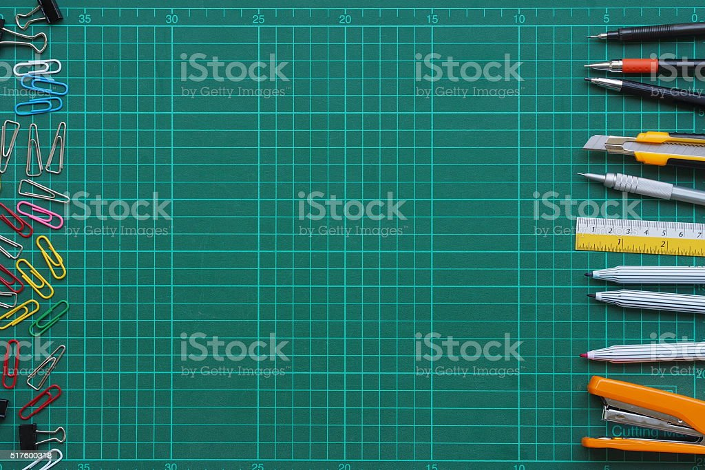 Stationery on a cutting mat stock photo