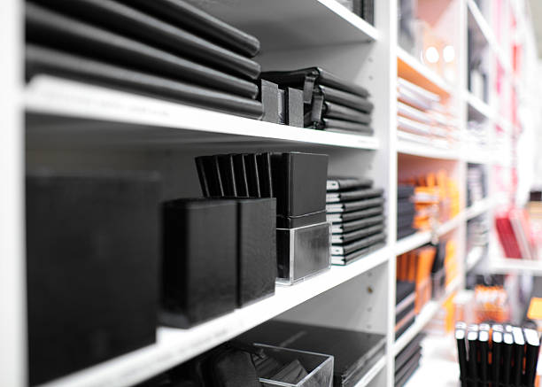 Stationery Shelves with stationery in a shop office equipment stock pictures, royalty-free photos & images