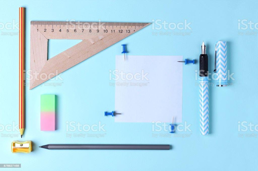 Stationery, pop art, blue fountain pen with pen, pencils, office...