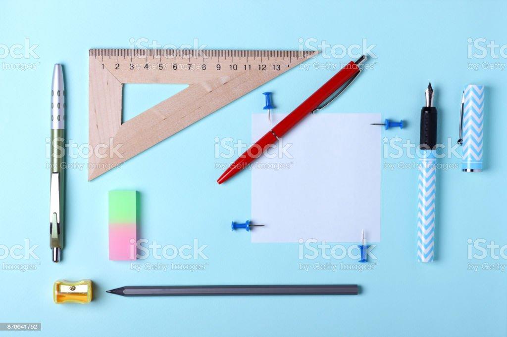 Stationery, pop art, white blue fountain pen, red fountain pen,...