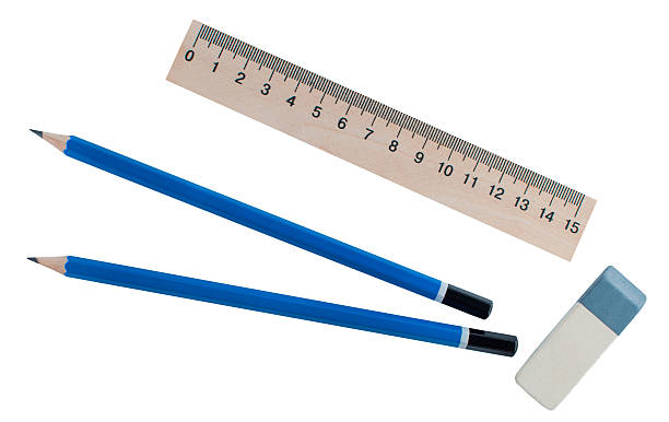 stationery - ruler, eraser and two simple pencil. - ruler stock photos and pictures