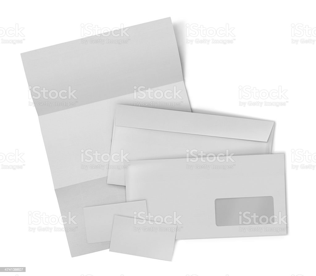 Stationery set. envelope, sheet of paper and business card royalty-free stock photo
