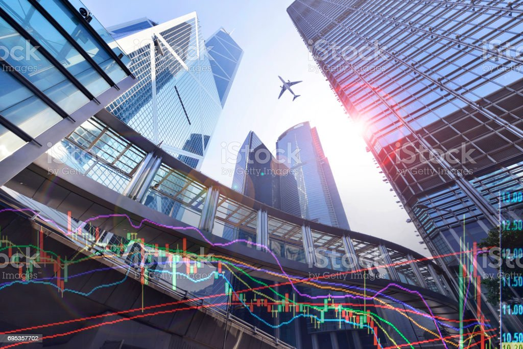Statistic graph index of stock Market in  Hong Kong stock photo