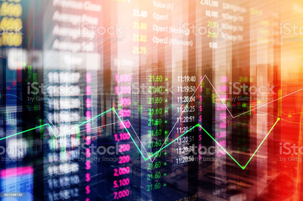 Statistic graph stock market data and finance indicator analysis from LED display. including finance statistic graph stock market education or marketing analysis. Stock analysis indicator stock photo