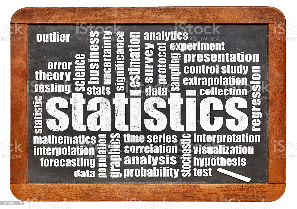 statistics and data word cloud stock photo