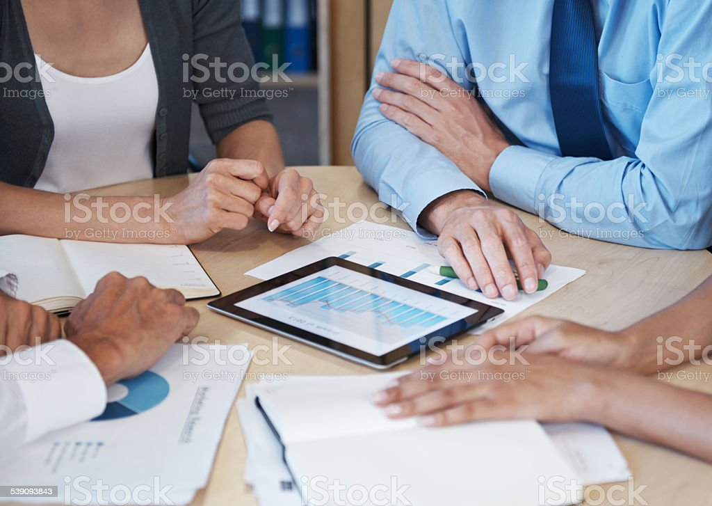 Statistics at the touch of a button stock photo