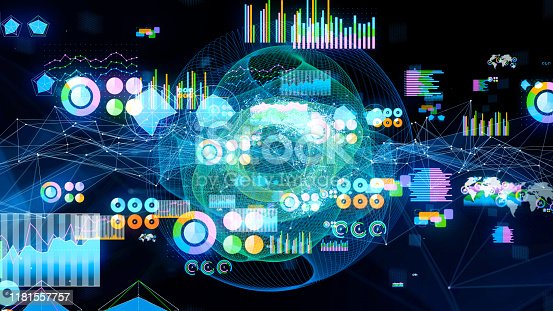 istock Statistics concept. Artificial intelligence. Communication network. 1181557757