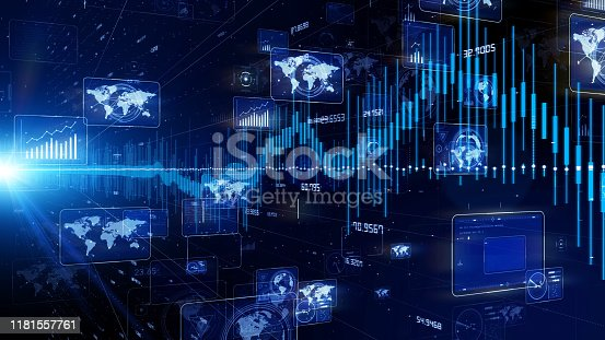 istock Statistics concept. Artificial intelligence. Communication network. 1181557761