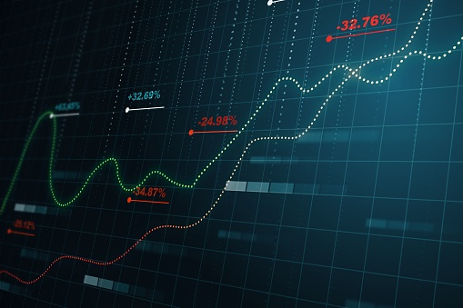 istock Statistics concept with financial chart and blurry background. 3D Rendering 1200049055