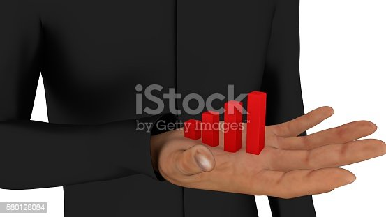 istock Statistics in a man's hand 3d render 580128084
