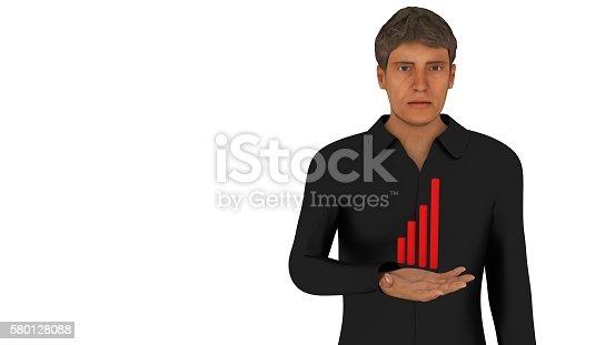 615499454istockphoto Statistics in a man's hand 3d render 580128088