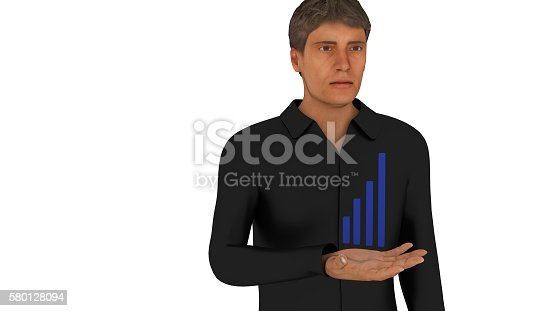 615499454istockphoto Statistics in a man's hand 3d render 580128094