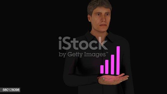 615499454istockphoto Statistics in a man's hand 3d render 580128098