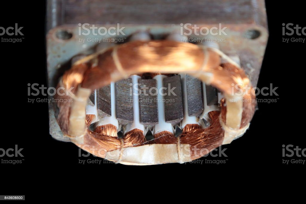 Stator of old electric motor stock photo