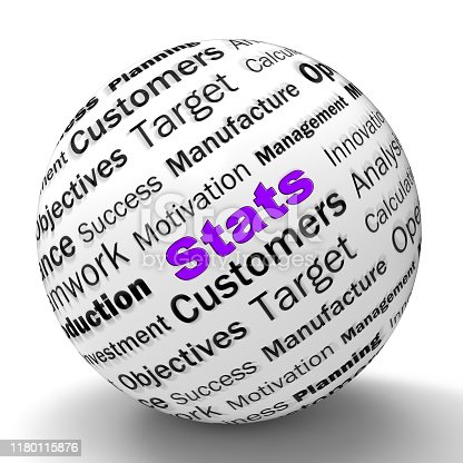 Stats concept icon mean statistics and numeric figures. A census computation or business intelligence - 3d illustration