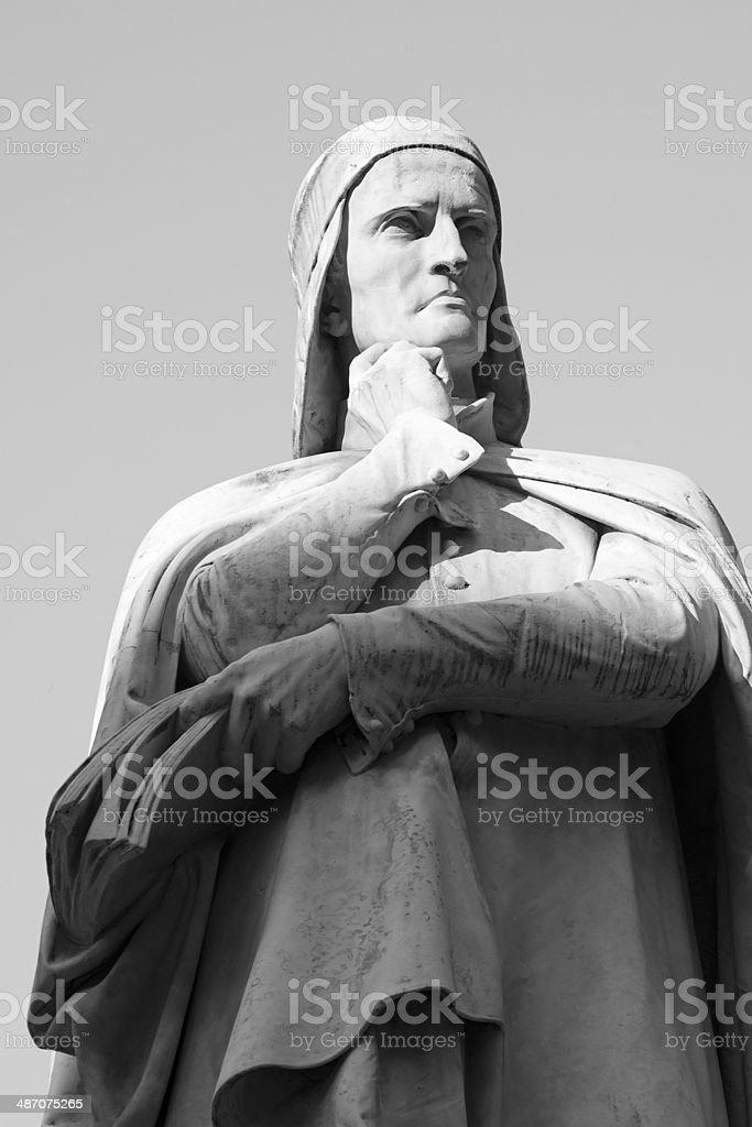 Statua of Dante - Black and White stock photo