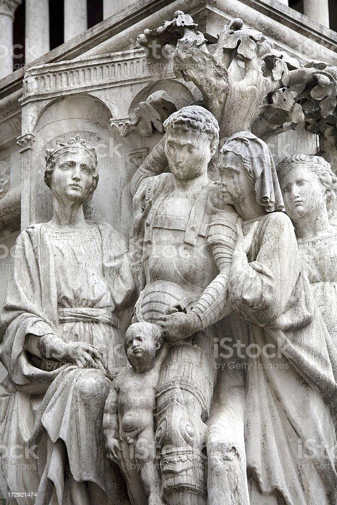 Statuary Detail on Doges Palace Venice royalty-free stock photo