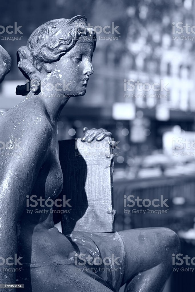 Statuary with City Background. royalty-free stock photo