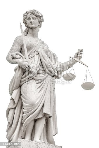 istock Statue a judge woman with scales and sword isolated at white background in Potsdam, Germany, details, closeup 1149091829