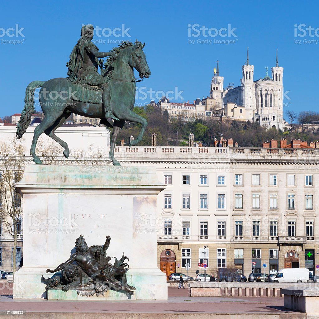 Statue  and Basilica stock photo
