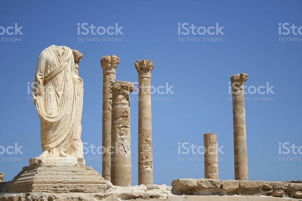 Statue and Columns stock photo